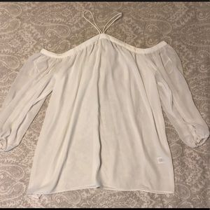 Tops - White long sleeve cold shoulder sheer top